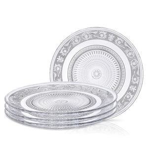 Glass Plate Clear for Salad - Set of 4 - Fleuri Etched Pattern - 7 Inch