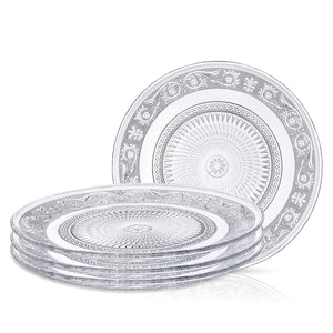 Clear Glass Dinner Plate - Set of 4 - Fleuri Pattern - 10 Inch
