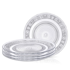 Clear Glass Charger Plate - Set of 4 - Fleuri Pattern – 12.5 Inch