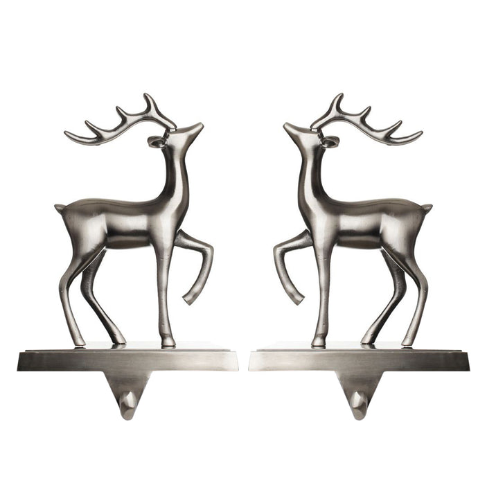 Christmas Reindeer Stocking Hanger for Mantel - Set of 2 - Silver Metal Deer Stocking Holder with Hook