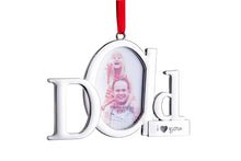 Load image into Gallery viewer, Dad Frame Picture Ornament – Holds one 2x3 Photo – Christmas Picture Frame Tree Decoration with Red Tie Ribbon – Silver