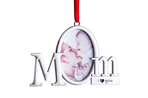 Mom Frame Picture Ornament – Holds one 2x3 Photo – Christmas Picture Frame Tree Decoration with Red Tie Ribbon – Silver