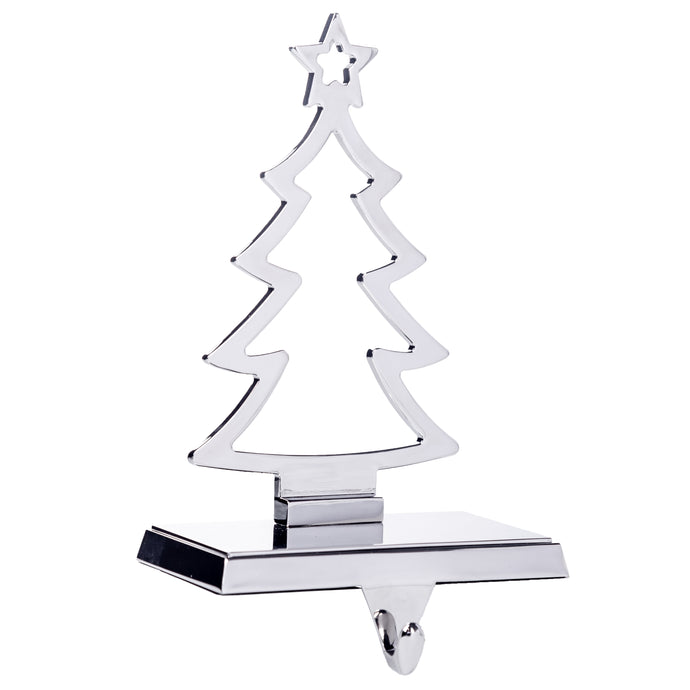 Christmas Tree Stocking Hanger for Mantel - Silver Metal Stocking Holder with Hook