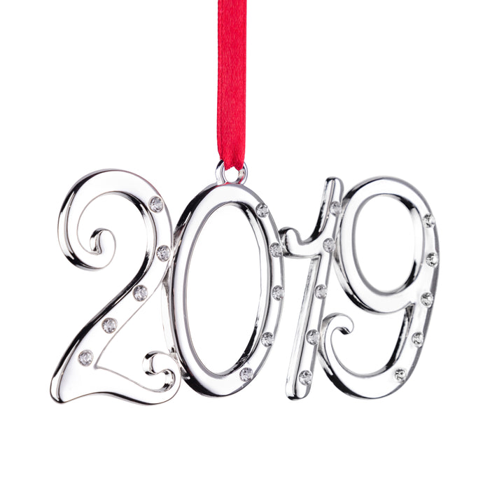2019 Hanging Ornament - Holiday Tree Decoration with Red Tie Ribbon - 2nd Annual Christmas Edition