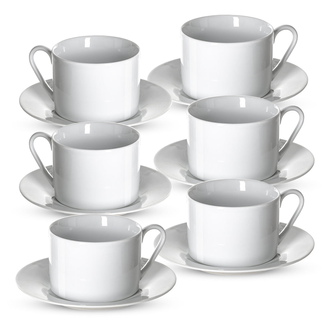 Klikel Tea Cups and Saucers Set - 6 Piece White Coffee Mug Set - 6 Inch Plates and 8.5oz Mugs - Cappuccino Cup and Saucer Set for Latte Café Mocha Espresso Bar