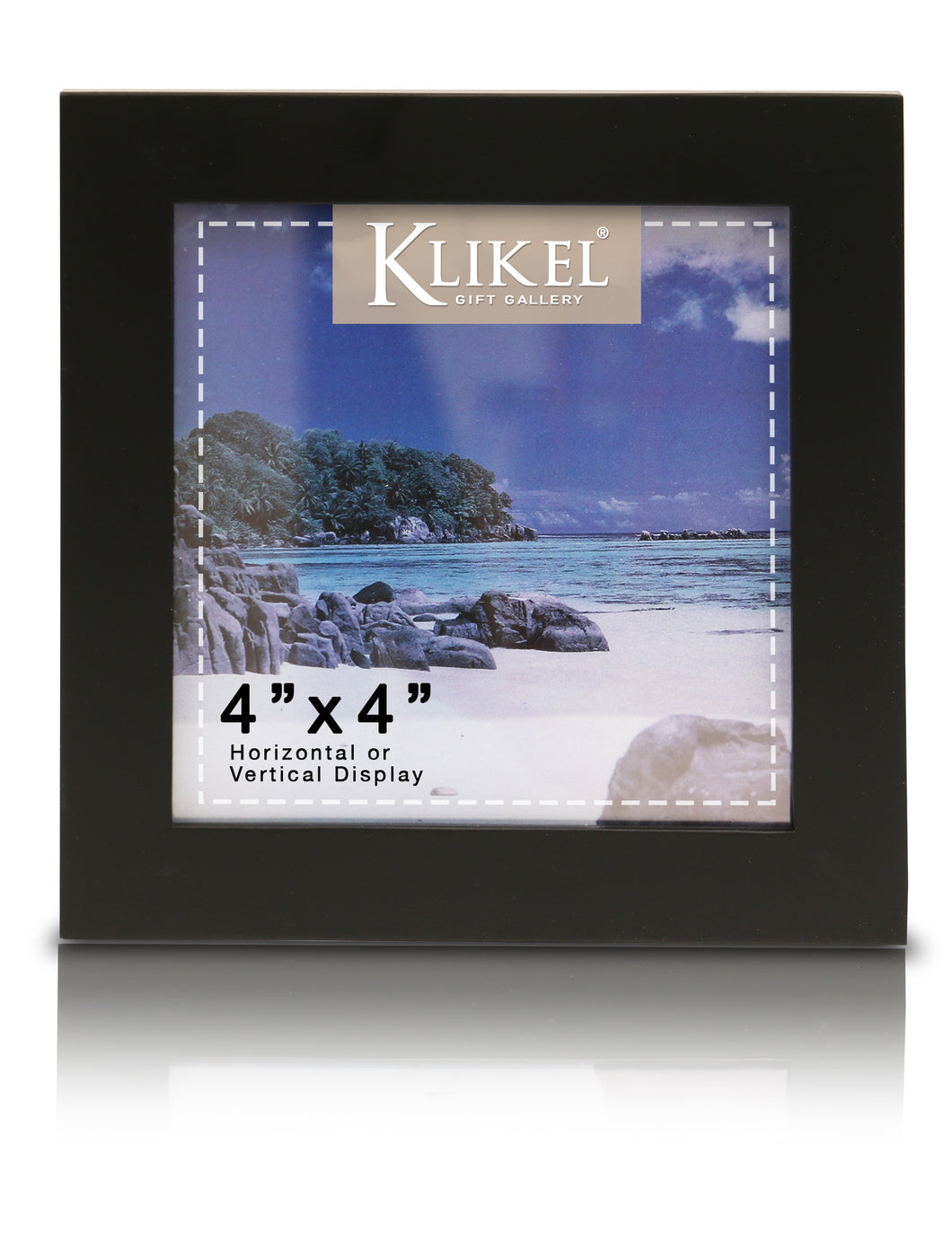 Black Picture Frame - 4x4 Black Wooden Photo Frame - Made of Real Wood with Glass Photo Protection - Ready for Wall Hanging and Table Standing Display