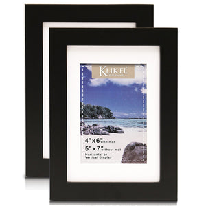 Klikel 4x6 Matted Picture Frame - Black Wooden Wall Frame - 5x7 Frame Without Mat - Set of 2 Wall Hanging and Table Standing Picture Frames