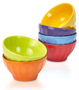 Klikel 6 Pack 18oz Fluted Soup Bowls Set - 6 Bright Solid Colors - Dishwasher and Microwave Safe - Porcelain Dinnerware - Cereal Rice Salad Bowls - Deep Stackable Pet Cat Dog Bowl - 18oz, 5 1/2 Inch Round
