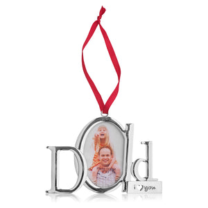Dad Frame Picture Ornament – Holds one 2x3 Photo – Christmas Picture Frame Tree Decoration with Red Tie Ribbon – Silver