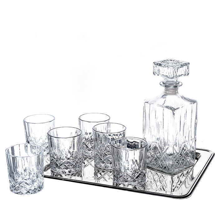 6-Piece Cranford Whiskey Drinkware Barware Drink Set with 4 Crystal Double Old Fashioned Glasses, Decanter, and Silver-Plated Rectangular Tray. Decanter capacity is 750ml /25oz cups 8oz