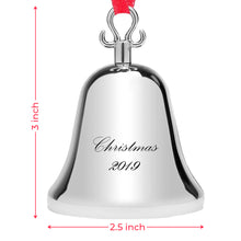 Load image into Gallery viewer, Klikel Bell Ornaments for Christmas Tree - Silver Bell Ornament with Red Tie Hanging Ribbon - Engraved Christmas 2019 - 6th Annual Edition