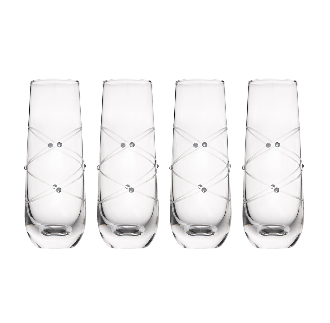 Calici Champagne Flutes Stemless Glasses Etched with Stones – Mimosa Glasses Set of 4 – 9oz