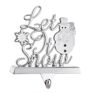 Snowman Stocking Hanger for Mantel- Winter Christmas Stocking Holder with White Snowflake - Let It Snow