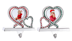 Double Heart Picture Frame Stocking Holder Set - Christmas Hangers with Red and Green Acrylic Crystals - Set of 2