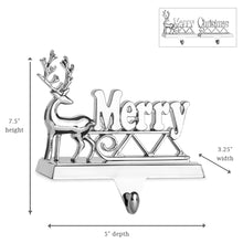 "Load image into Gallery viewer, Silver Merry Christmas Stocking Hangers for Mantel - Set of 2 - Nickel Non-tarnish Stocking Holders ""Christmas"" and ""Merry"""