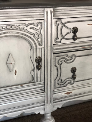Custom White Antiqued Buffet