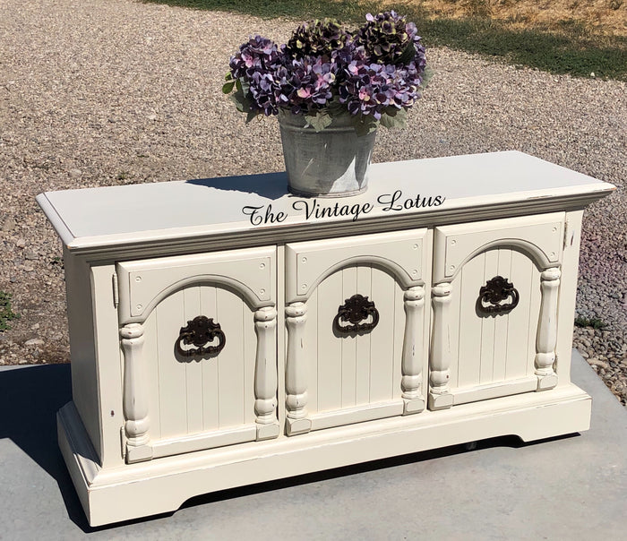 Custom Cream Farmhouse Buffet Stand