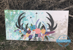 Antlers, Arrows & Flowers Original Painting