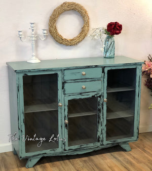 Distressed Farmhouse Blue Credenza