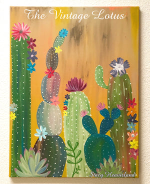 """Go Sit On A Cactus""  Original Canvas Painting"