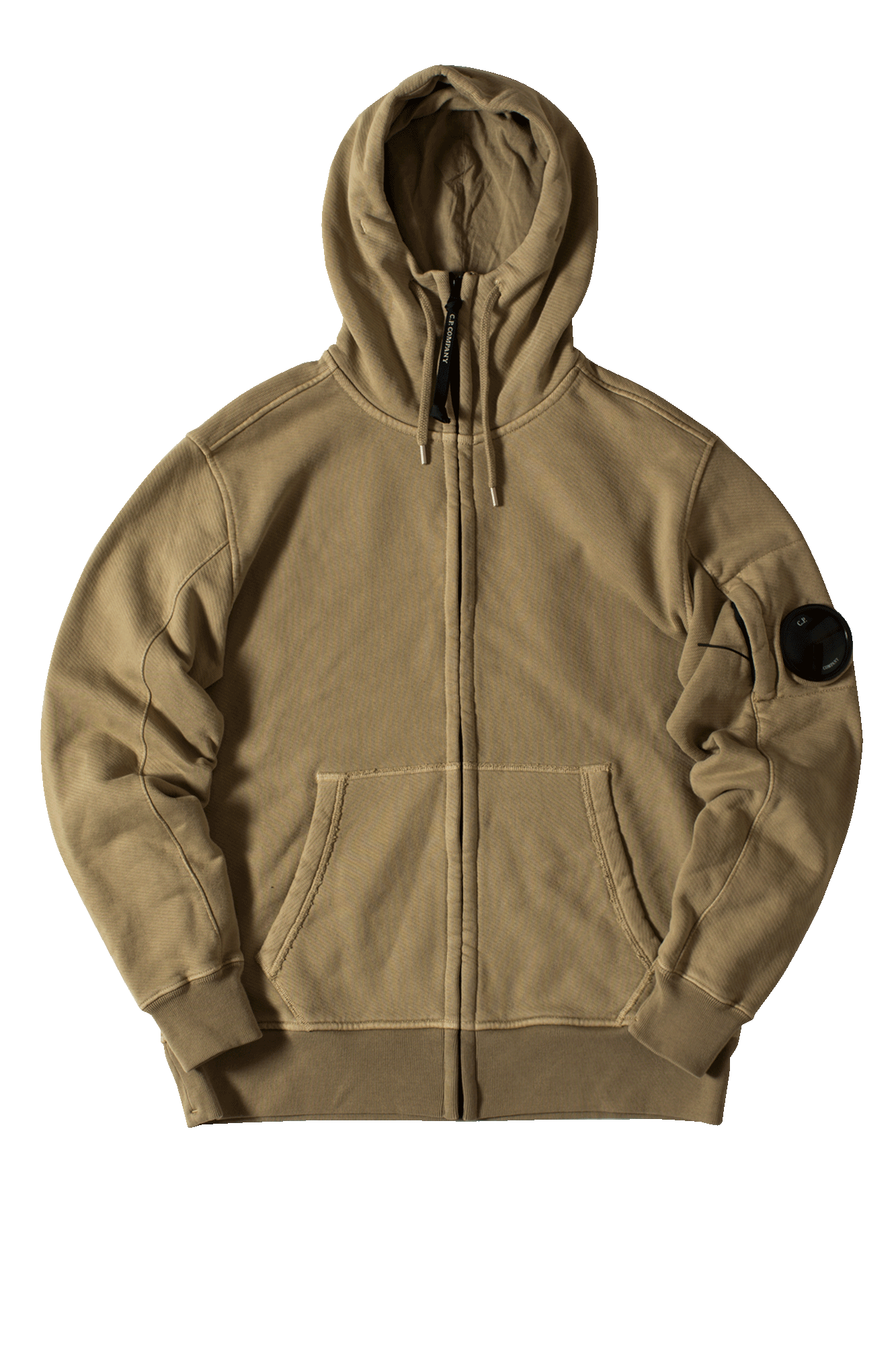 Hooded Open Zip-up sweatshirt Beige
