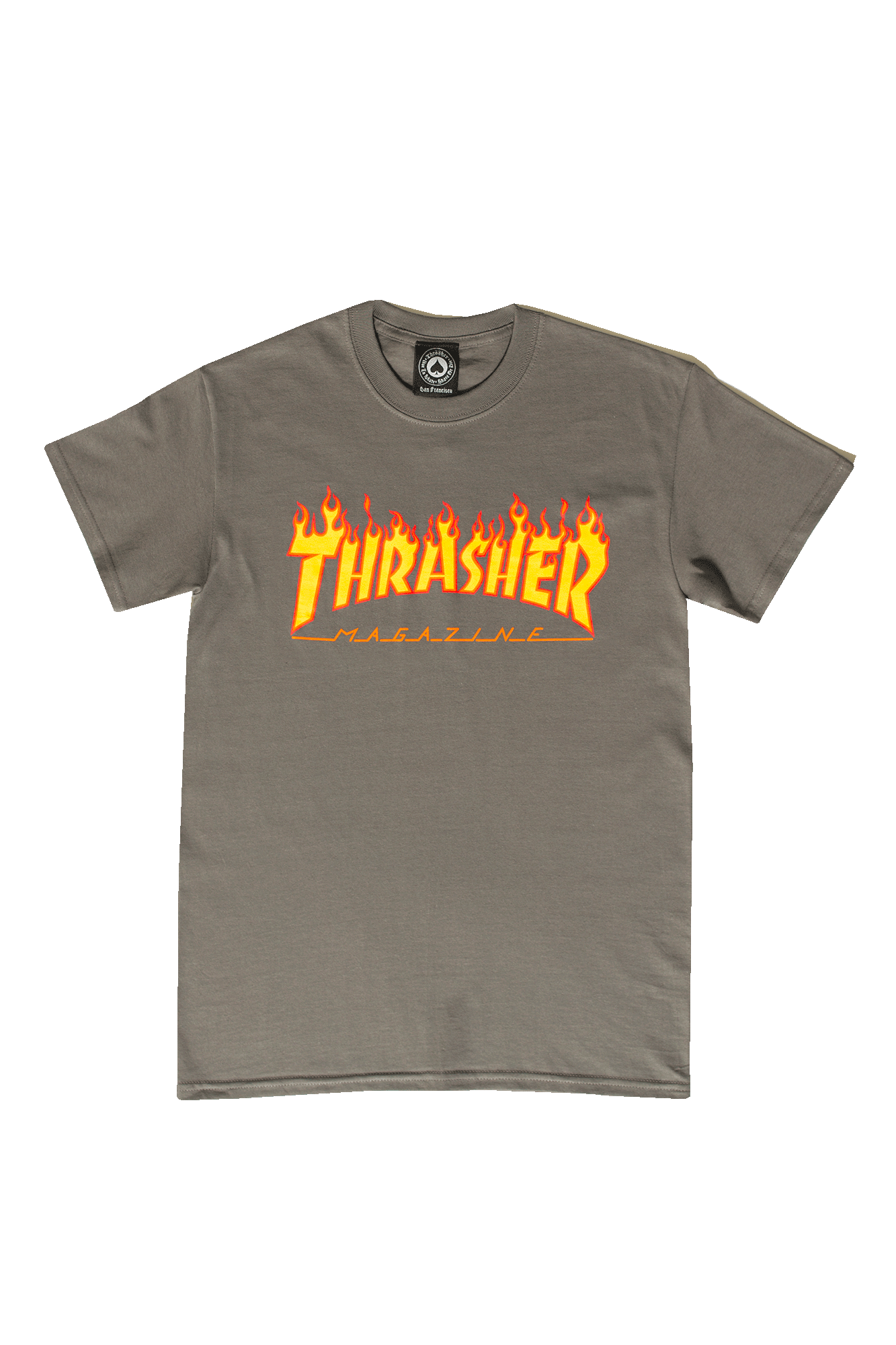 Thrasher T-Shirts Flame Logo T-Shirt Grey 311019#CHARCOAL#C0009#S - One Block Down