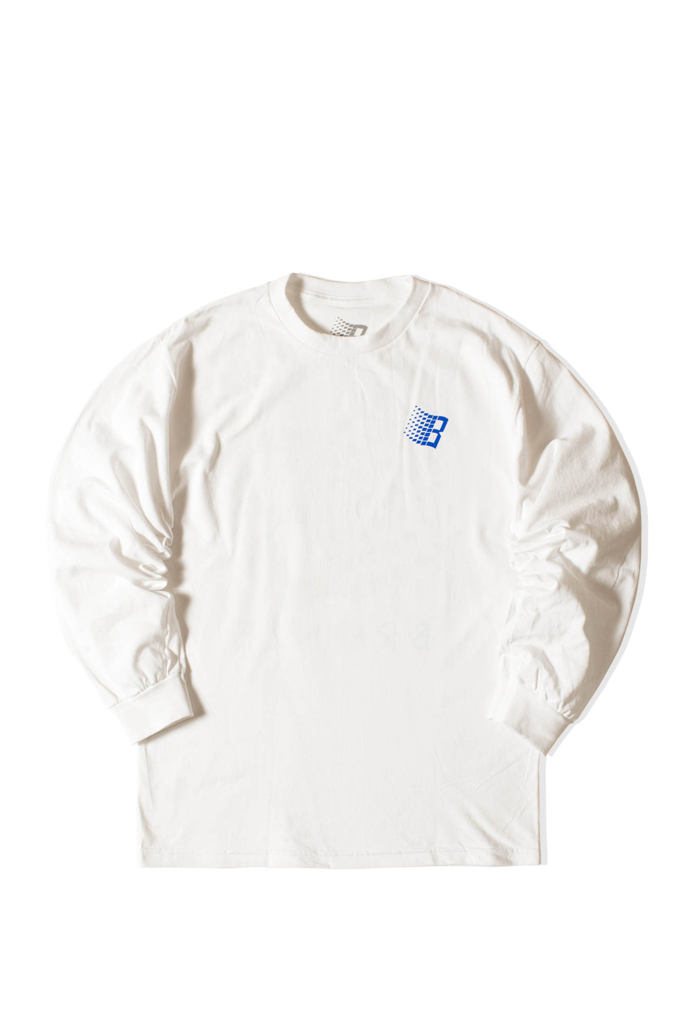 B Logo Long Sleeve Tee White