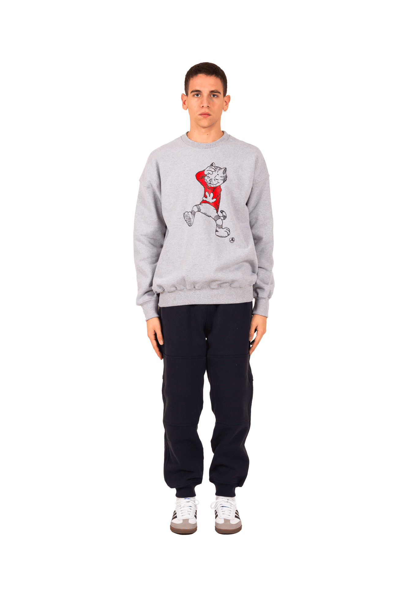 Richardson Mag Sweaters Fritz The Cat 9 Lives Crew Grey FTC9LIVESC#000#GRY#S - One Block Down