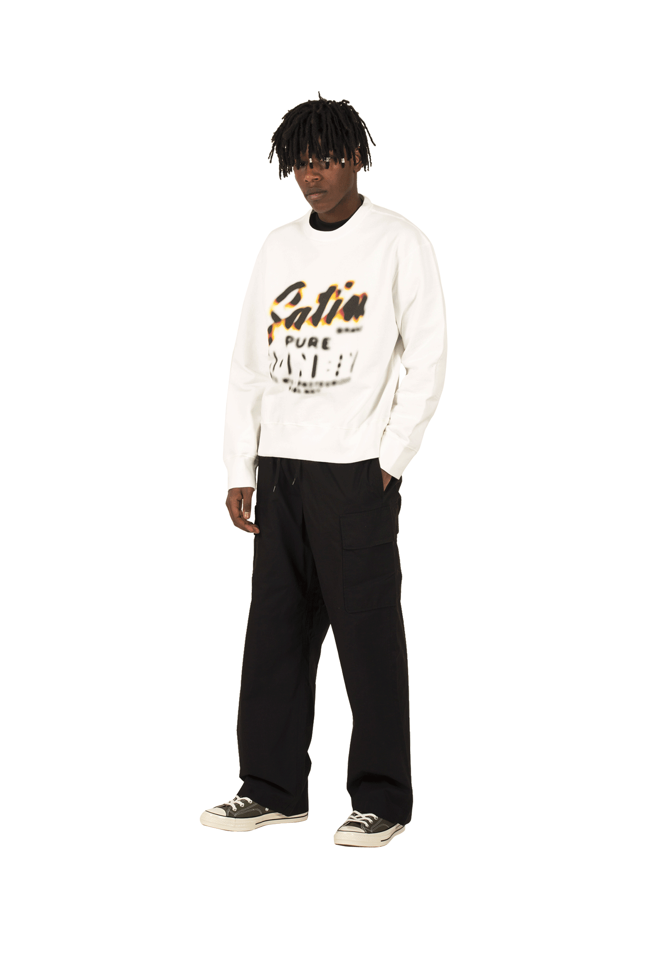 OUR LEGACY Sweaters Patch Sweat Honey Print White M1936PH#000#WHITE#46 - One Block Down