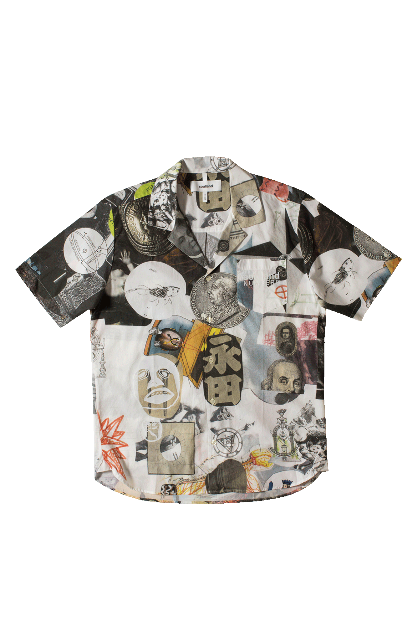 Soulland Meets Numbers Collage Button Up Shirt Multicolor