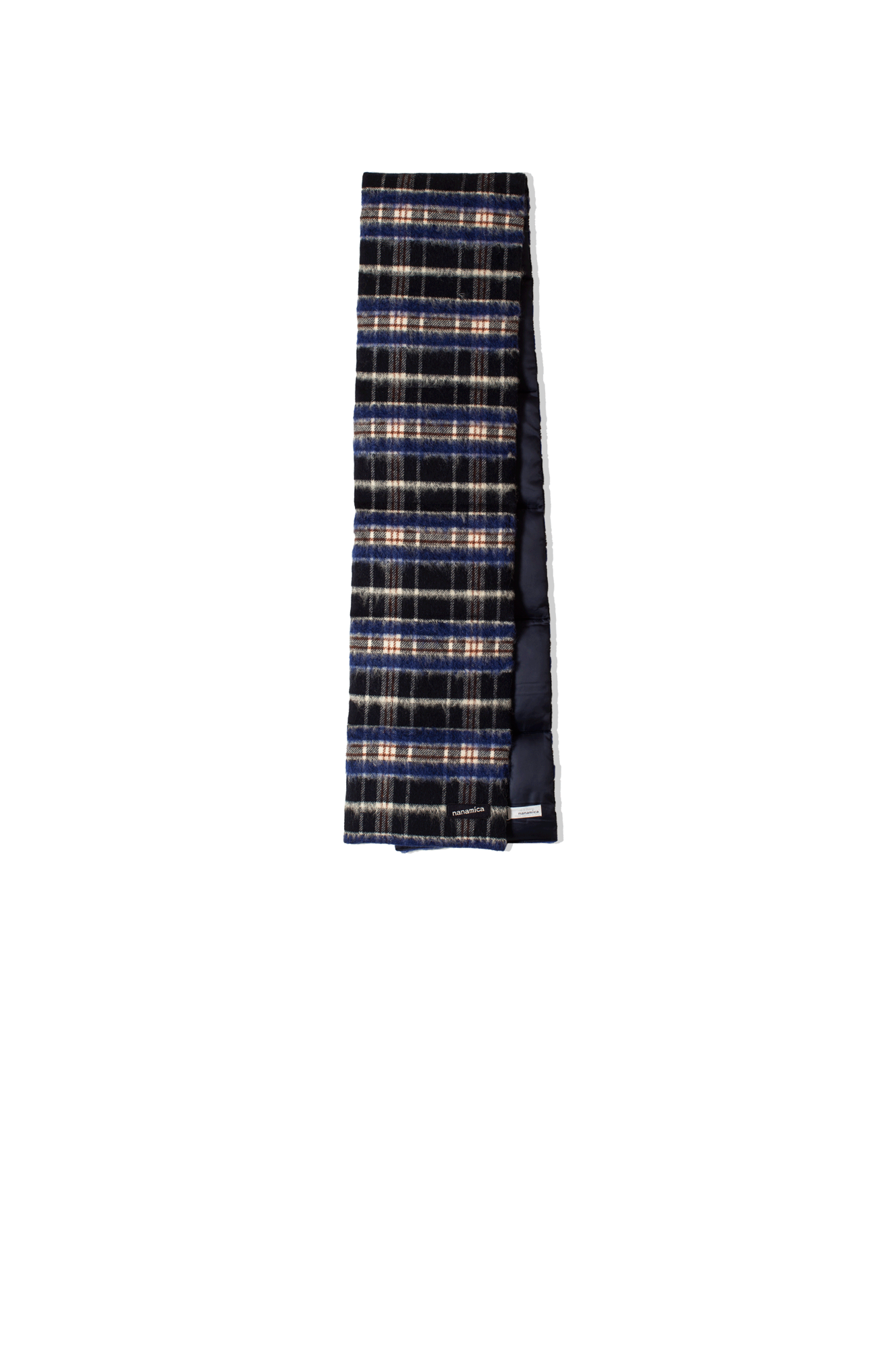 WOOL CHECK DOWN MUFFLER Blue