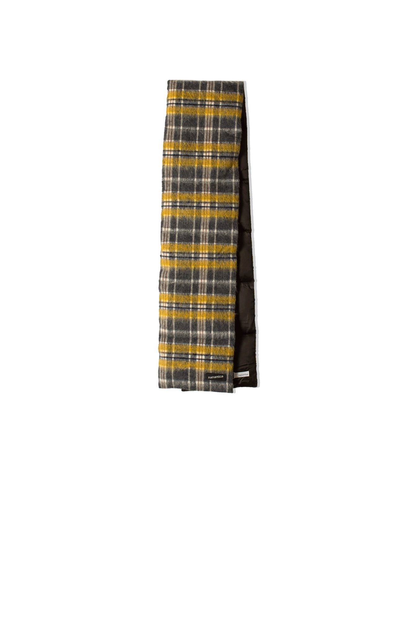 WOOL CHECK DOWN MUFFLER Yellow