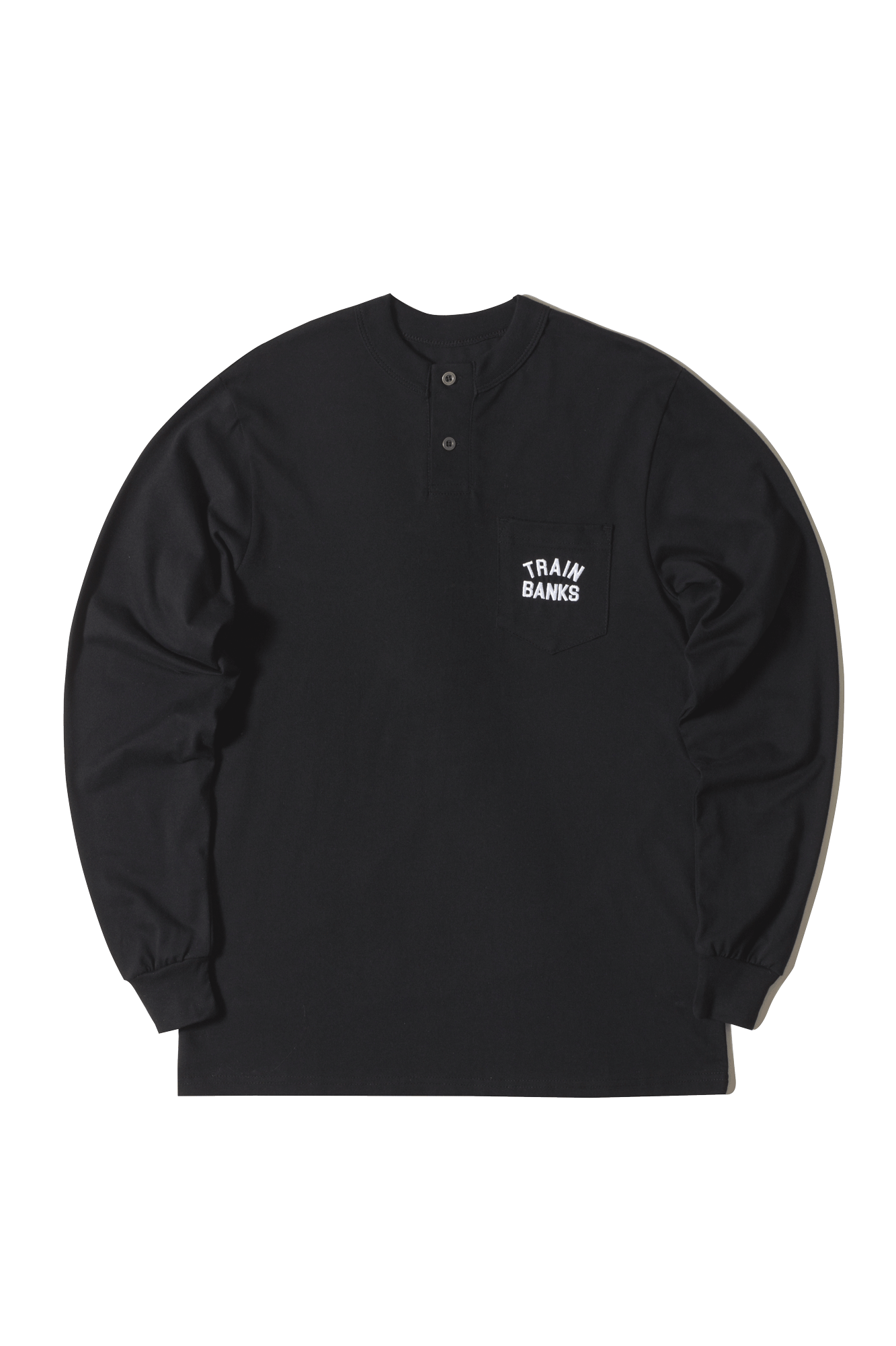 Long sleeve T-Shirts Polar Train Banks Henley Longsleeve Black - One Block Down