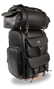 Milwaukee Leather SH672  Bag Black Large 2 Piece Stealth PVC Touring Pack with Barrel Bag (14X17X7)