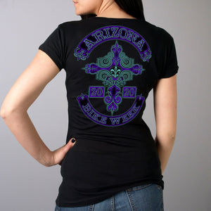 Official 2020 Arizona Bike Week Cross De Lis Ladies T-Shirt