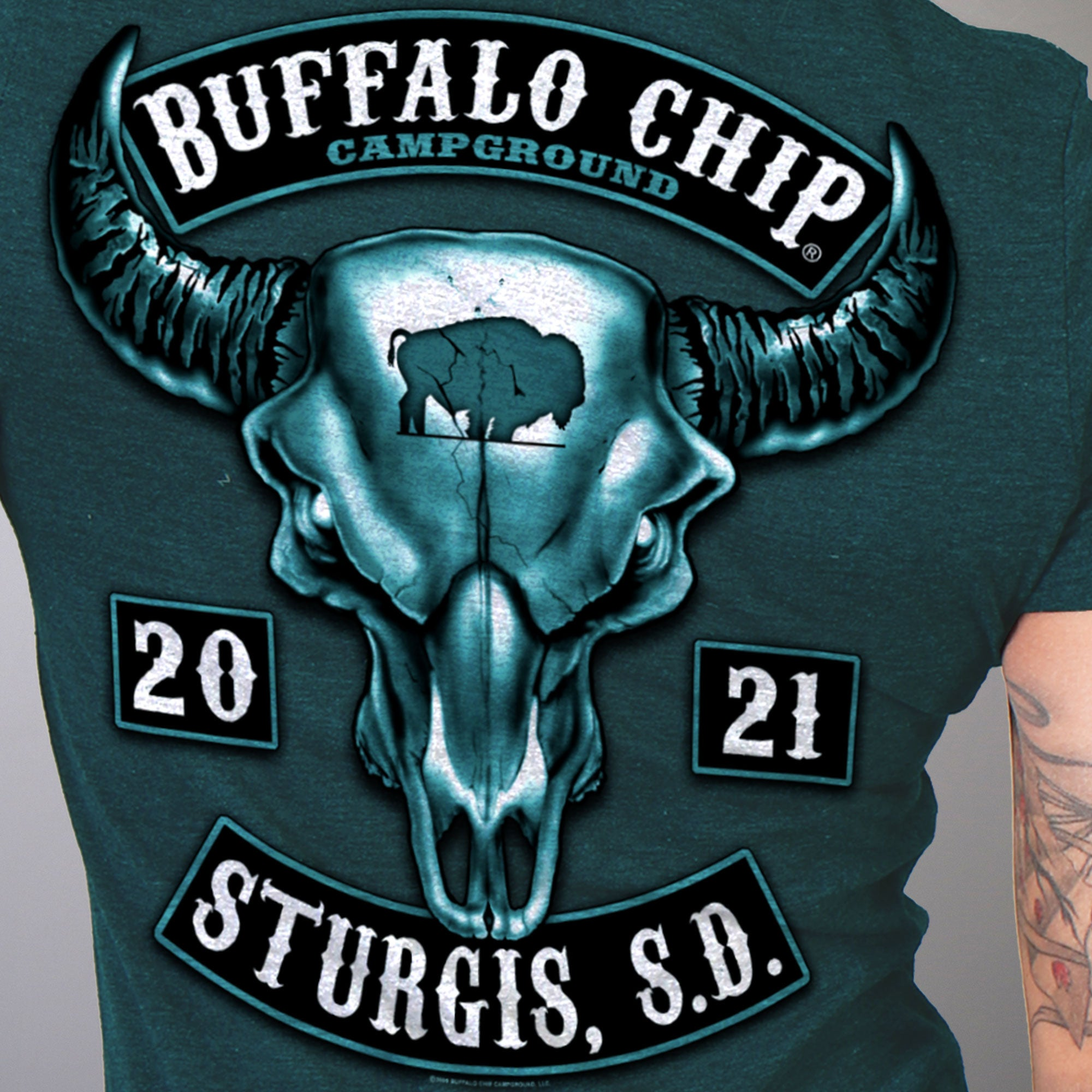 Official 2021 Sturgis Buffalo Chip Rocker Ladies T-Shirt