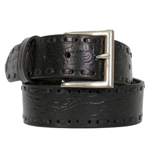 Hot Leathers Embossed Leather Belt with Lacing