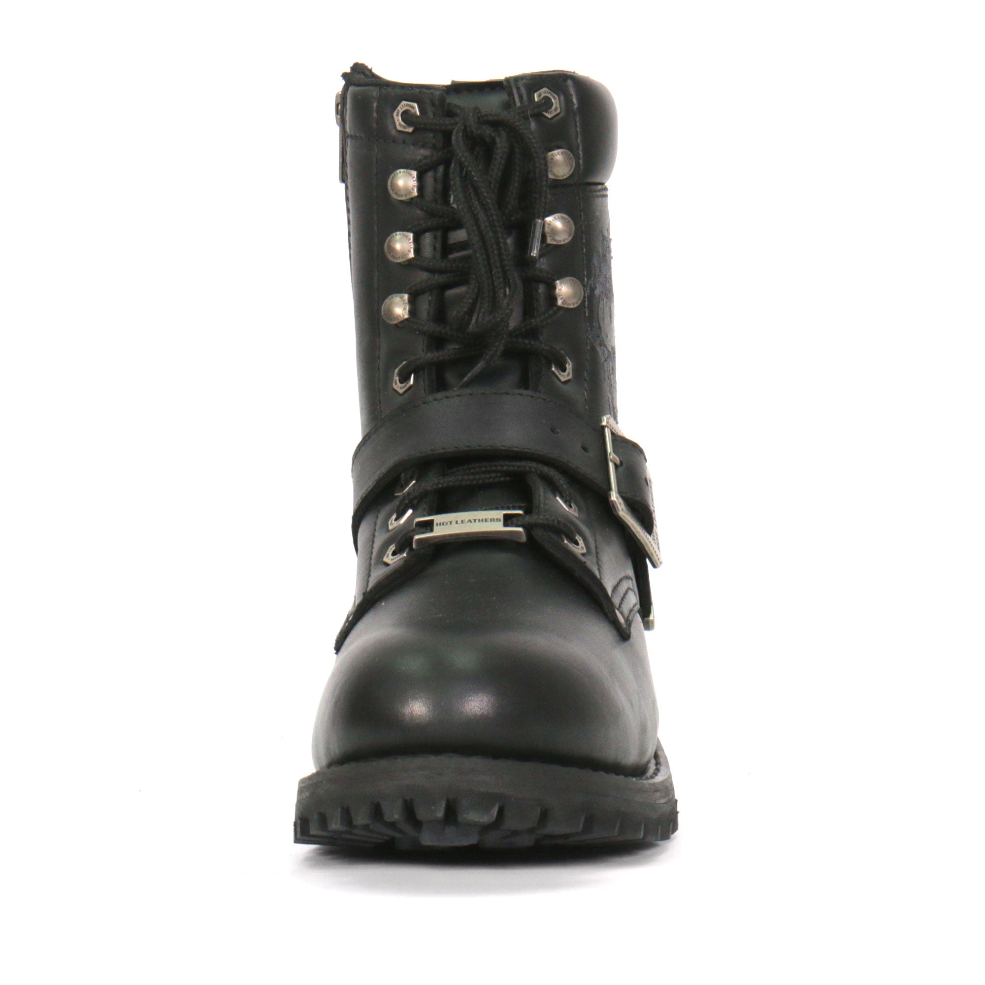 Hot Leathers Grave Rub Skull Tall Logger Motorcycle Boot