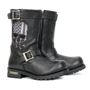 Hot Leathers Tall Harness Flag Skull Boot with Round Toe