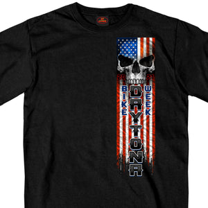 2021 Daytona Beach Bike Week Patriot Skull Black T-Shirt