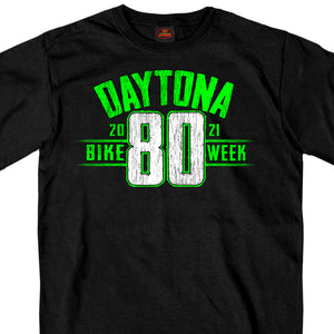 2021 Daytona Beach Bike Week Jumbo 80th Logo Black T-Shirt