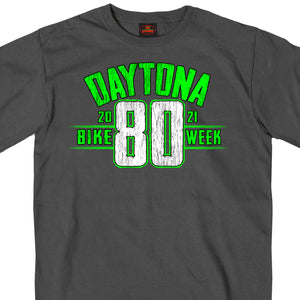 2021 Daytona Beach Bike Week Jumbo 80th Logo Charcoal T-Shirt