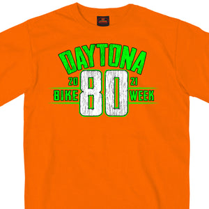 2021 Daytona Beach Bike Week Jumbo 80th Logo Orange T-Shirt