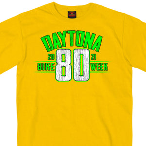 2021 Daytona Beach Bike Week Jumbo 80th Logo Yellow T-Shirt