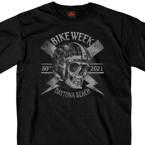 2021 Daytona Beach Bike Week Overspray Skull Black T-Shirt
