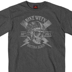 2021 Daytona Beach Bike Week Overspray Skull Charcoal T-Shirt