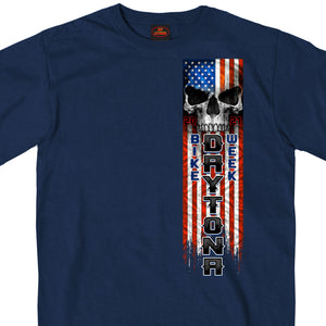 2021 Daytona Beach Bike Week Patriot Skull Blue T-Shirt