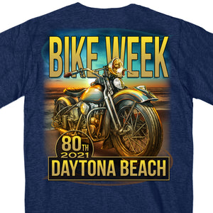 2021 Daytona Beach Bike Week Oceanfront Heather Navy T-Shirt