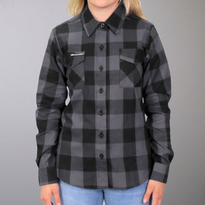 Hot Leathers Flannel Long Sleeve Black & Gray Ladies