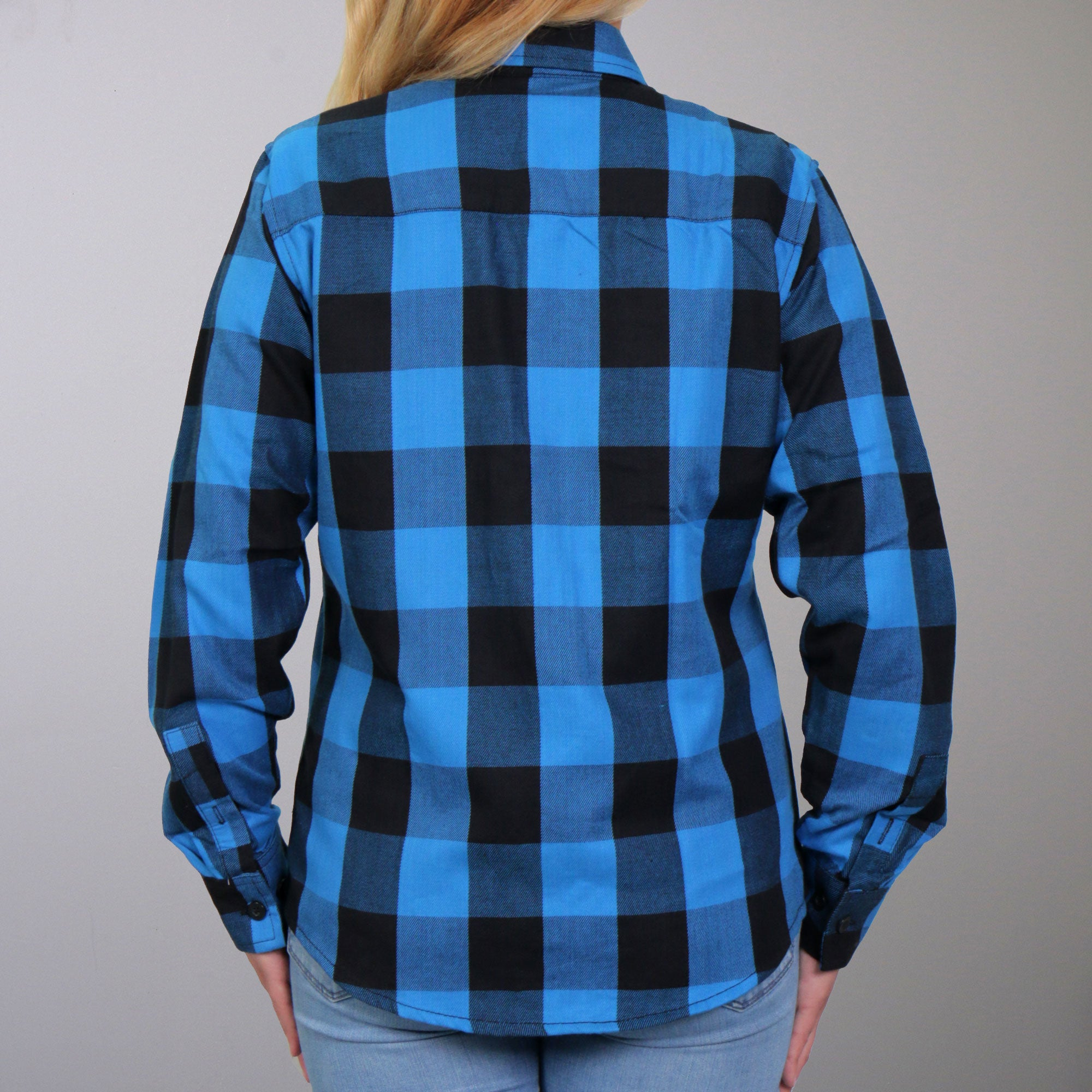 Hot Leathers Flannel Long Sleeve Black & Aqua Ladies